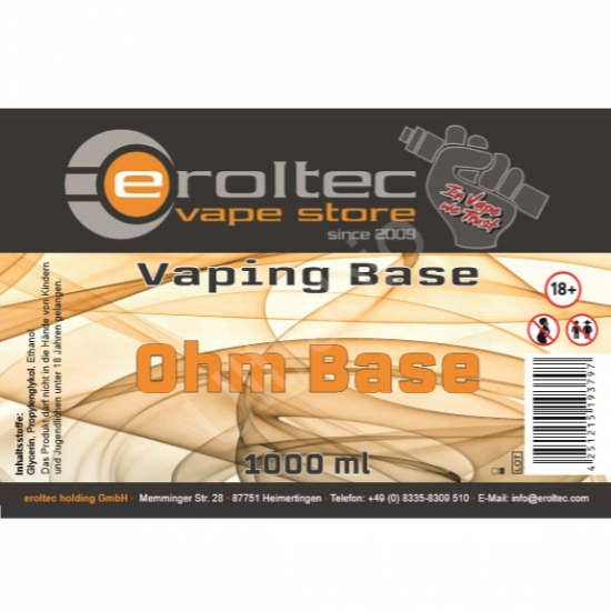1000ml eroltec Ohm Base 0mg